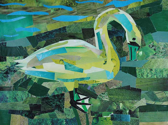 Green Swan by collage artist Megan Coyle