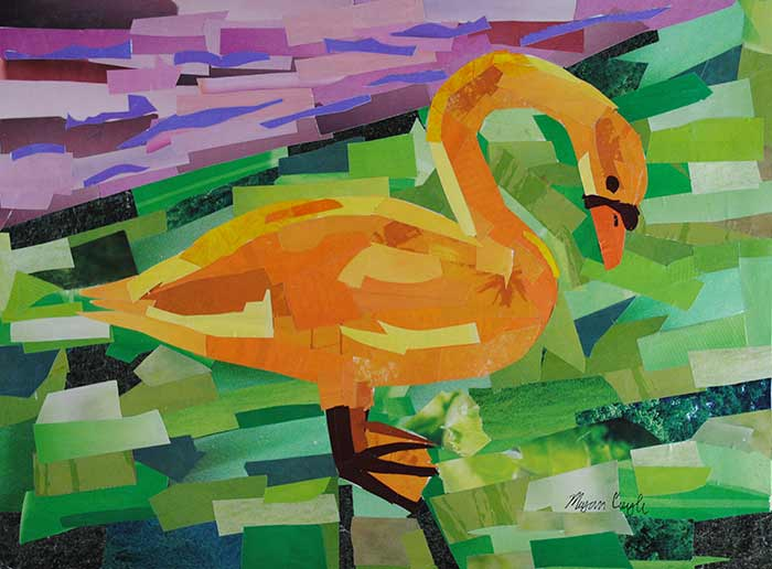 Swan Series – Light Orange Swan (9″x12″) – Megan Coyle: Artist & Illustrator