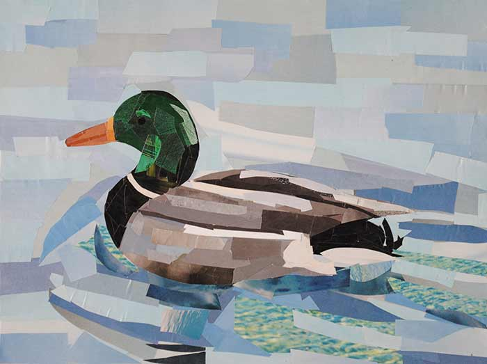 Swimming in the Lake by collage artist Megan Coyle