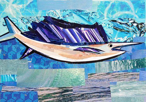 Swordfish by collage artist Megan Coyle
