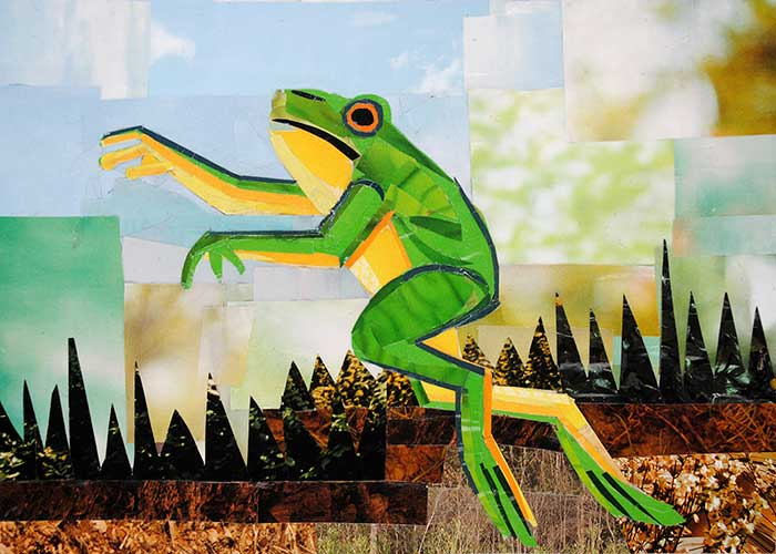 The Dancing Frog by collage artist Megan Coyle