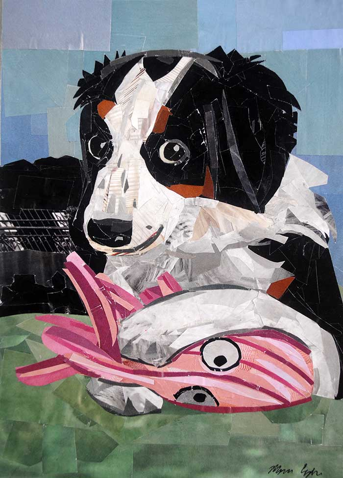 The Playful Bernedoodle by collage artist Megan Coyle