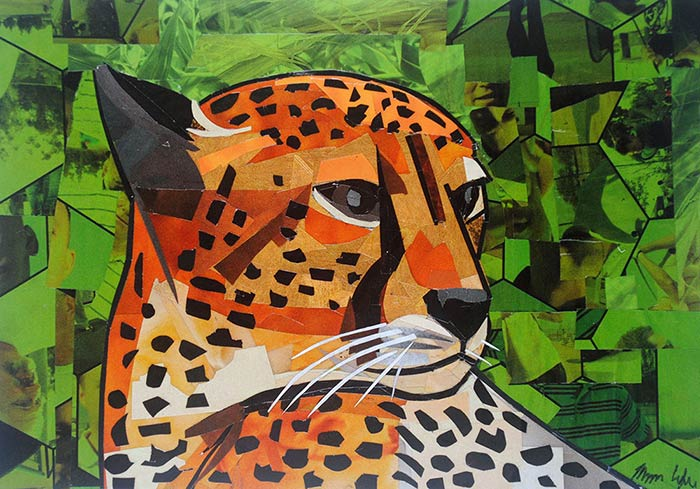 The Serious Cheetah is a collage by collage artist Megan Coyle