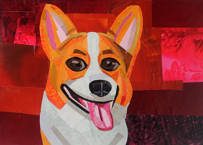 The Smiling Corgi by collage artist Megan Coyle
