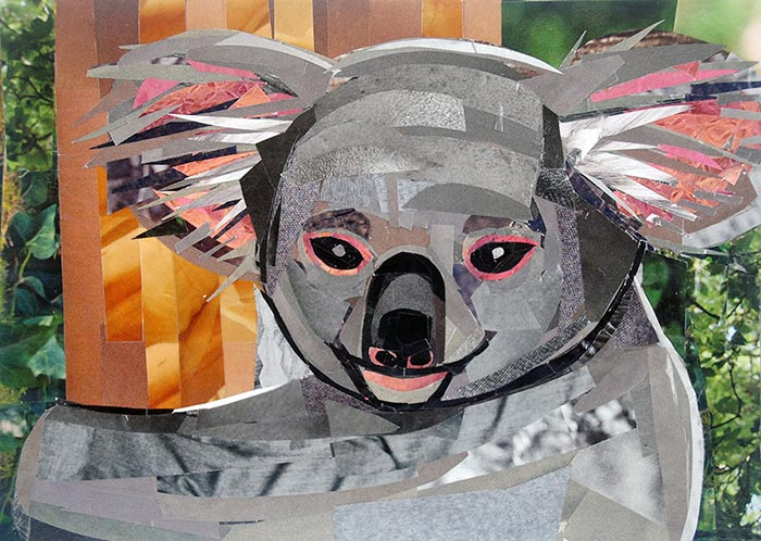 The Smiling Koala by collage artist Megan Coyle