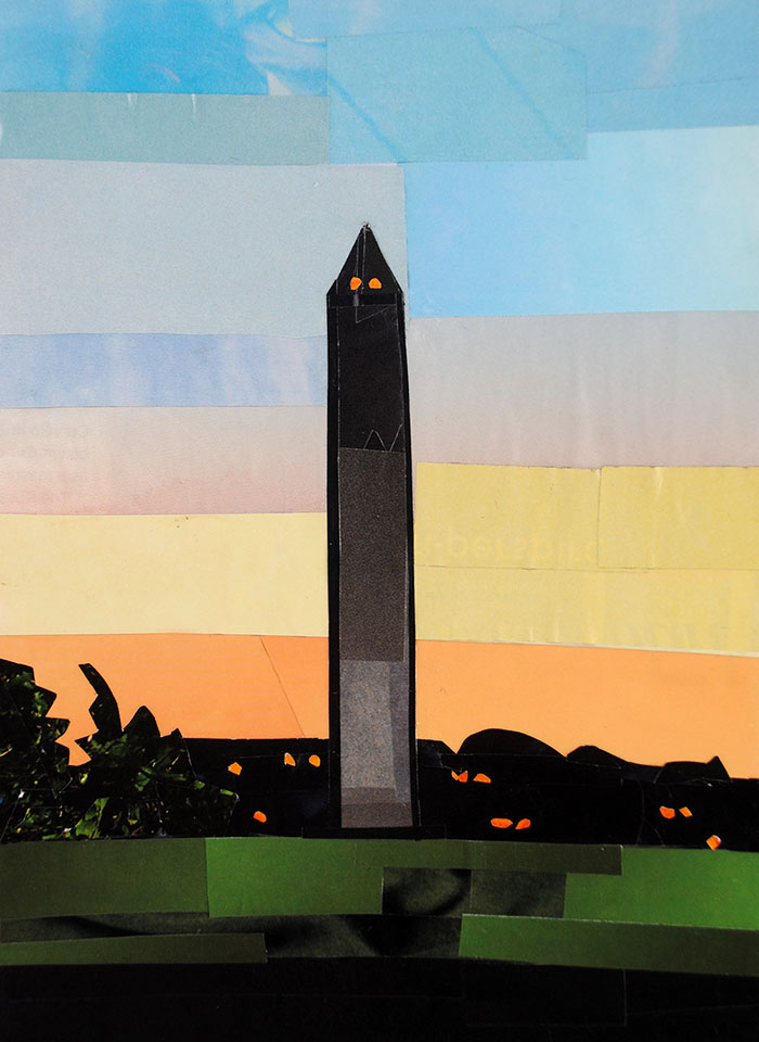 The Washington Monument at Dusk by collage artist Megan Coyle