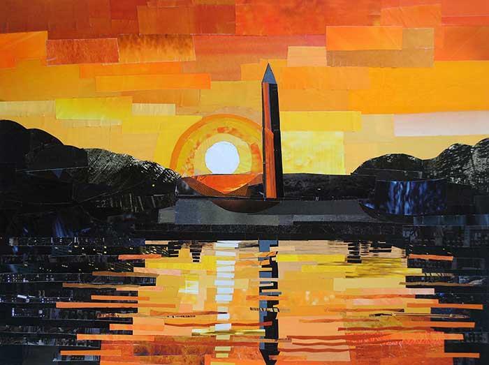 The Washington Monument at Sunset by collage artist Megan Coyle