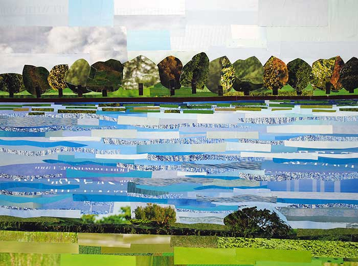 Trees in the Distance by collage artist Megan Coyle