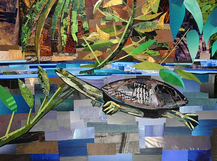 Turtle that thinks she's a Giraffe by collage artist Megan Coyle
