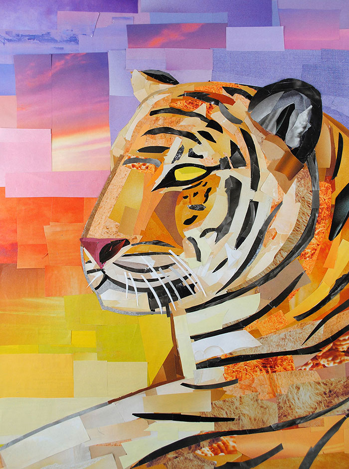 Watchful Tiger by collage artist Megan Coyle