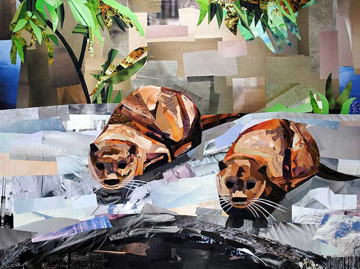 The Otter Sisters by collage artist Megan Coyle