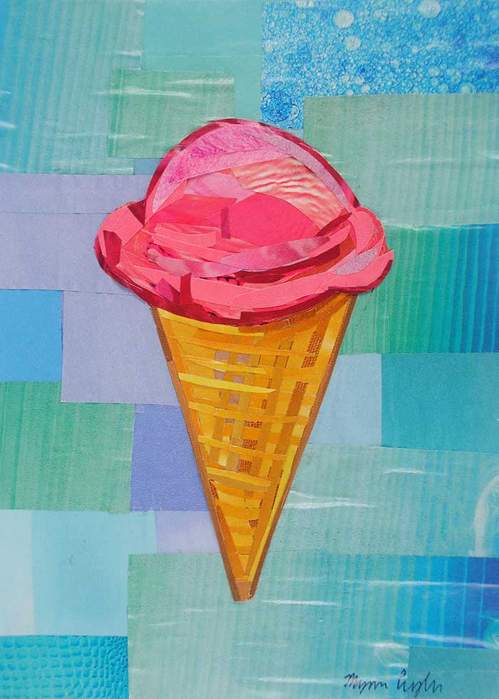 You're Pretty Sweet ice cream cone by collage artist Megan Coyle