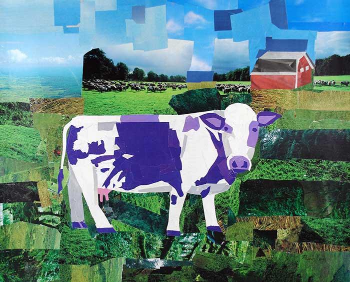 A Purple Cow's Paradise by collage artist Megan Coyle