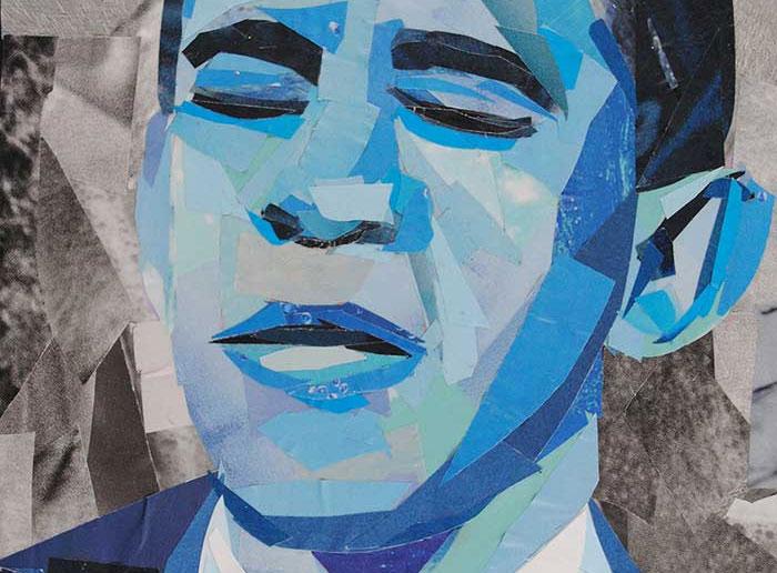 Blue Barack Obama by collage artist Megan Coyle