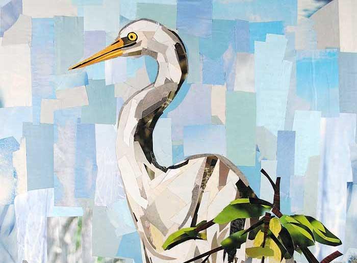 Crane by collage artist Megan Coyle