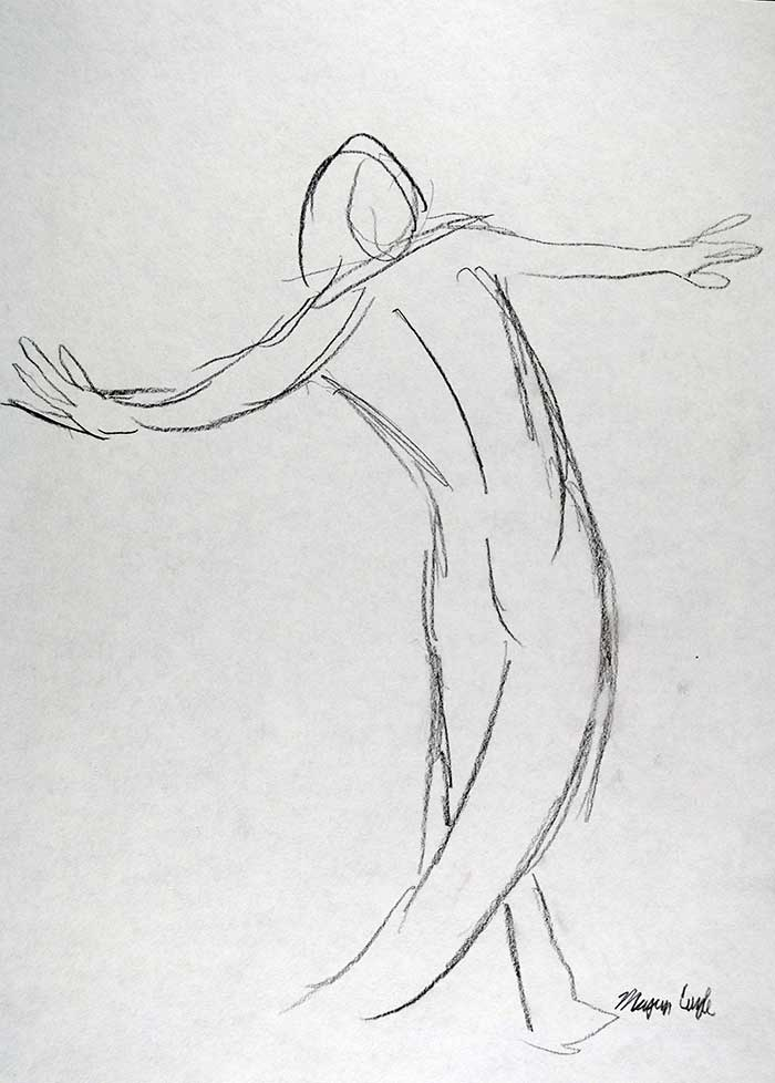 Dancing in the Nude drawing by Megan Coyle