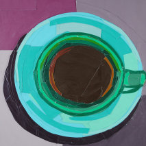 Title: Green Coffee Cup from a Bird's-Eye View