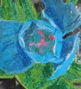 Blue Flower by collage artist Megan Coyle