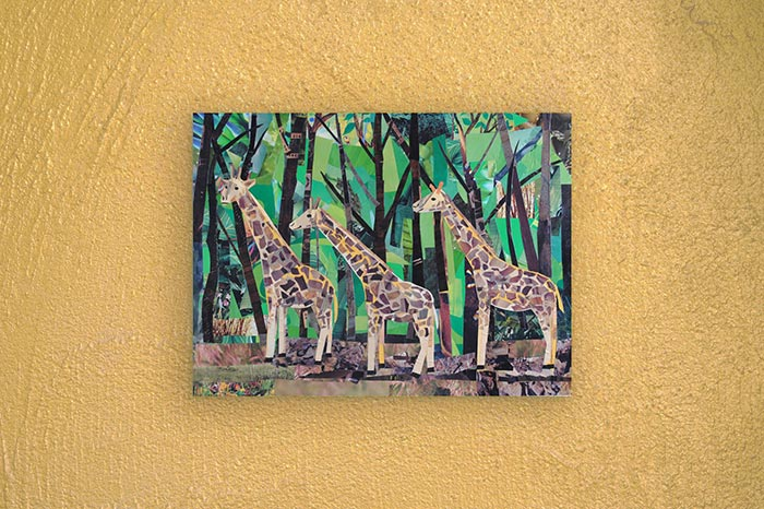 """One, Two, Three Giraffes"" by collage artist Megan Coyle"