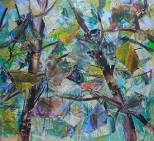 Abstract Trees by collage artist Megan Coyle