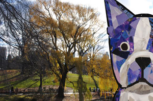 Bosty goes to Central Park by collage artist Megan Coyle