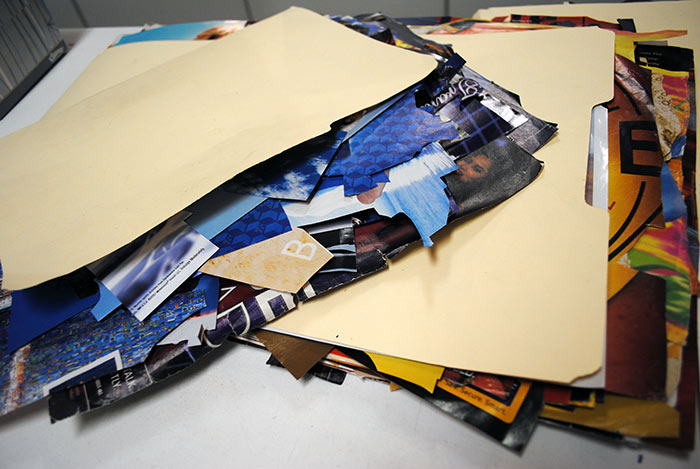 Materials that Megan Coyle uses for her collages