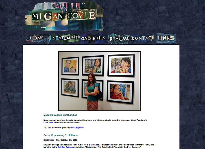 Megan Coyle's previous version of her website