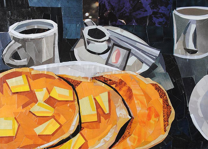 Pancakes and Coffee by collage artist Megan Coyle