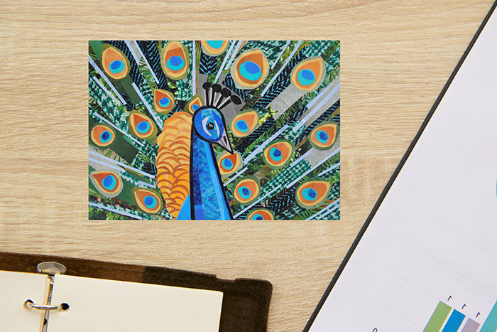 Pretty as a Peacock by collage artist Megan Coyle