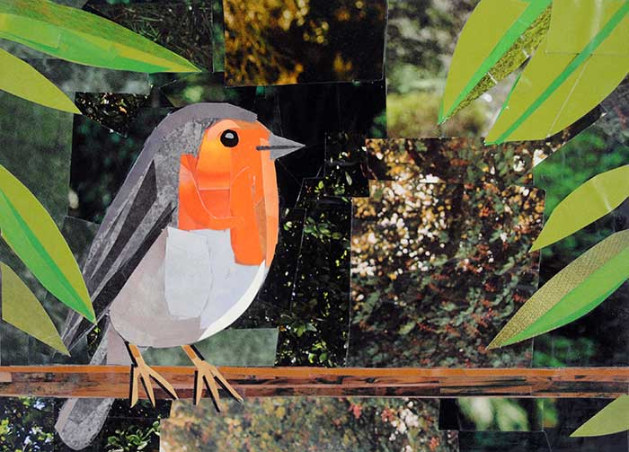 Smiling Birdy by collage artist Megan Coyle