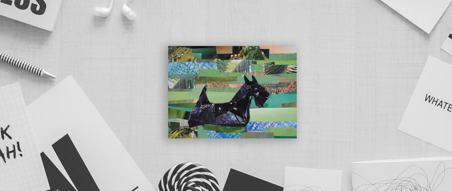 Scottish Terrier by collage artist Megan Coyle