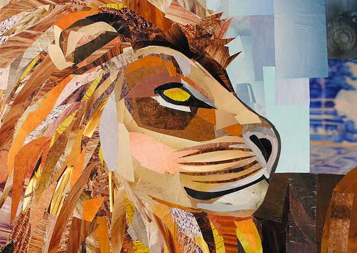 Watchful Lion by collage artist Megan Coyle