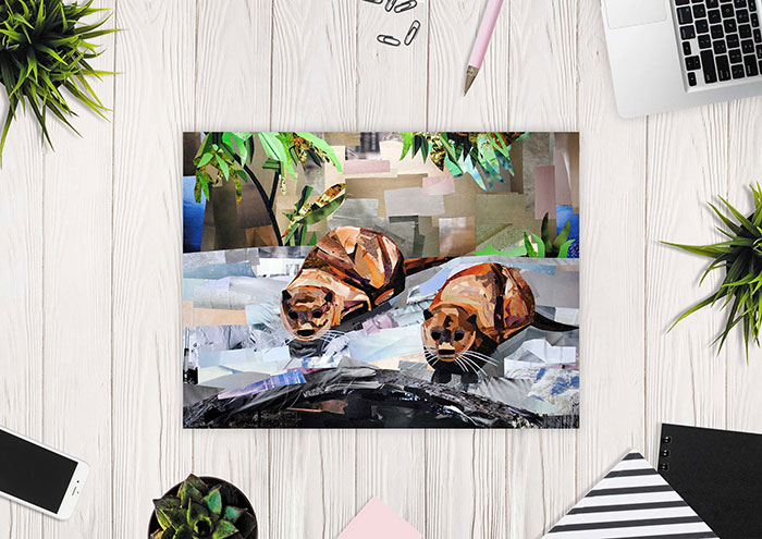What a Pair (the Otter Sisters) is a collage made entirely from magazine strips by Megan Coyle