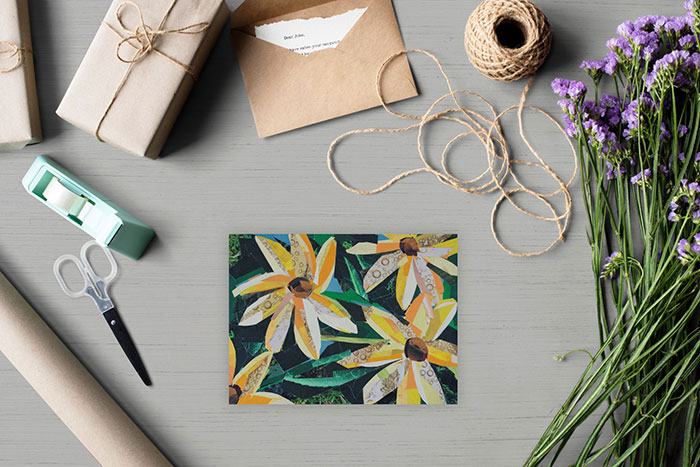 Yellow Flowers is a collage by Megan Coyle